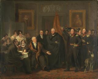 De aanvaarding van het Hoog Bewind door het Driemanschap in naam van de prins van Oranje op 21 november 1813 ten huize van Gijsbert Karel van Hogendorp, zittend rechts van de tafel. Gemaakt door: Jan Willem Pieneman / Rijksmuseum