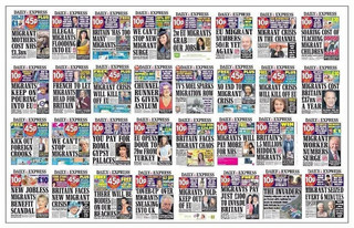 32 front pages of the Daily Express, a British tabloid.
