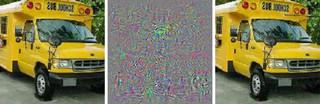 De eerste afbeelding is een bus, de tweede de ruis die je toevoegt aan de afbeelding, de derde afbeelding is het resultaat, en volgens het algoritme een struisvogel.