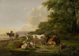 Landschap met vee. Bij een plas langs een weg bevinden zich enkele koeien en schapen, rechts eet een geit van de struiken. Over de weg komt een boerin met een ezel door Pieter Gerardus van Os in 1806. Reproductie: Rijksmuseum