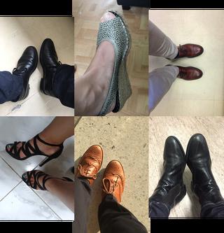 Een greep uit de schoenen die onze VN-medewerkers naar hun werk dragen. De foto's zijn gemaakt door de zeventien dagboekschrijvers uit dit verhaal.