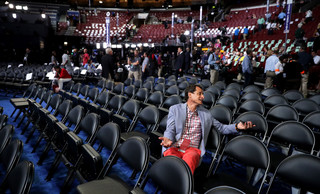 Anthony Weiner, voormalig Congressman uit New York, op de tweede dag van de Democratic National Convention in Philadelphia, 26 juli, 2016. Foto: Chip Somodevilla / Hollandse Hoogte