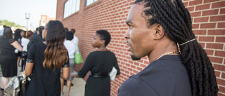 Darren Seals arriving at Michael Brown's funeral. Photo by Youth Radio / CC