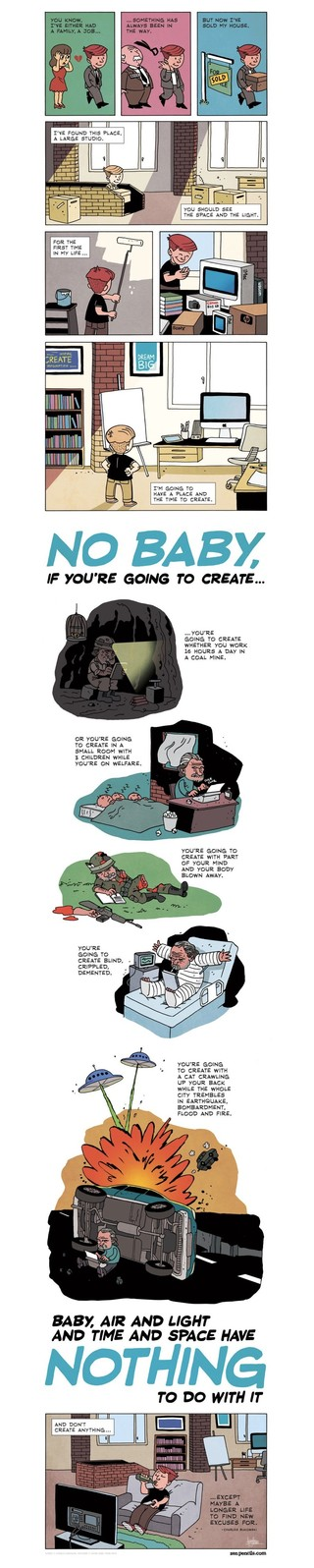 Tekst: Charles Bukowski - air and light and time and space (1992). Tekening: Gavin Aung Than van Zen Pencils