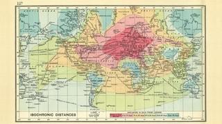 De tijd die het kostte om in 1914 van Londen naar elders in de wereld te reizen. Gemaakt door John George Bartholomew.