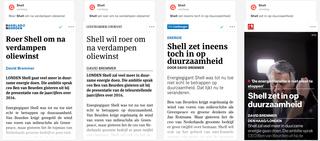 Screenshot uit Blendle met de verhalen uit het Dagblad van het Noorden, de Leeuwarder Courant, De Limburger en Tubantia