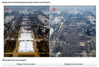 Links: de inauguratie van Trump. Rechts: de inauguratie van Obama.