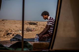 Jemenitische vluchteling in Obock, Djibouti. (Mei 2015).