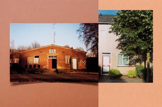 De barak waar de moeder van Charisma Pical heeft gewoond, en haar ouderlijk huis, beide in Vught. Collage: Amber Toorop (voor De Correspondent)