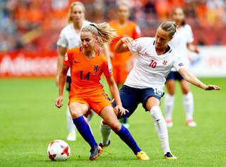 Jackie Groenen tijdens de wedstrijd Nederland - Noorwegen op 16 juli 2017, in Stadion Galgenwaard, Utrecht. Foto: Dean Mouhtaropoulos / Getty Images