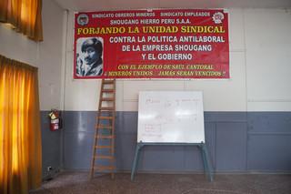 In het pand van de vakbond van de mijnwerkers van Shougang. Foto: Rochi Leon (voor De Correspondent)