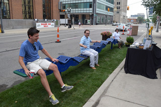 Een parklet in Michigan. Foto: Michigan Municipal League
