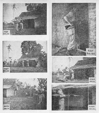 Het omsingelen en doorzoeken van huizen. Beeld uit de geïllustreerde handleiding voor Nederlandse soldaten in Indonesië, getiteld 'Kennis van het V.P.T.L. Een kwestie van leven of dood.'