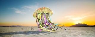 Concept art van Peter Hazels festivalfeestsculptuur 'Bloom'.