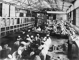 In de opiumfabriek te Weltevreden worden de tubes in houten doosje verpakt, Java,1907. Foto: Collectie Nationaal Museum van Wereldculturen. Coll.nr. TM-10012185