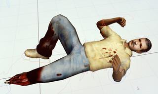 Een still uit het virtualreality-programma te ontwikkelen om helikopterpiloten emotioneel voor te bereiden op wat ze kunnen aantreffen op locaties waar zelfgemaakte explosieven zijn ontploft.