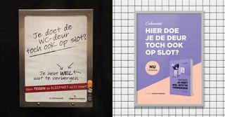 Links: de postercampagne van De Jonge Socialisten, de politieke jongerenorganisatie van de PvdA. Rechts: de campagne van De Correspondent voor ons boek 'Je hebt wél iets te verbergen'.