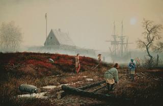 De eerste geregistreerde Europese structuur in de staat New York, gebouwd in 1614, bekend bij de Nederlanders als Fort Nassau. 'The Trading House', geschilderd door Len Tantillo.