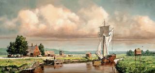 De Nederlandse boerderij van Teunis Dircksen aan de oevers van de 'Papscanee Creek' langs de Hudson, circa 1652. 'Homeport', geschilderd door Len Tantillo.