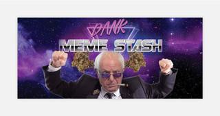 Bernie Sanders wordt hier als een soort hippie afgebeeld. In de memes over Sanders komt wiet altijd prominent voor.