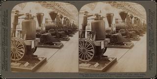 Verschillende modellen locomotieven tijdens de Wereldtentoonstelling van 1904 in St. Louis. Foto: Underwood and Underwood