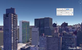 Het is mogelijk om via Google Earth een gebouw op te meten. Hier zie je als voorbeeld het gebouw van de Verenigde Naties in New York. In Google Earth Pro kun je met een liniaal (de gele lijn) een gebouw meten, of berekenen op welke verdieping je uitkomt als je honderd meter omhoog gaat.
