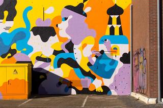 Muurschildering door Hedof, in opdracht van Blind Walls Gallery. Foto: Ralph Roelse