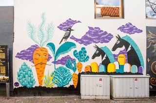 Muurschildering door Laura Lehtinen, in opdracht van Blind Walls Gallery. Foto: Edwin Wiekens