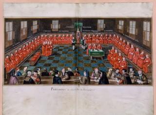Het Bourgondische parlement rond 1470. Tekening uit de zeventiende eeuw, naar een origineel uit de vijftiende eeuw. Uit de collectie van François-Roger de Gaignières (1642–1715), in bezit van de Nationale Bibliotheek Frankrijk.