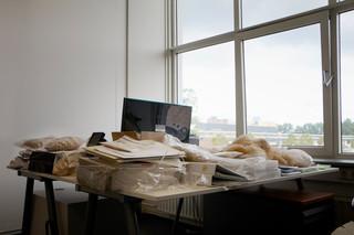 Het bureau van Ratelband met proefzakjes gedroogde hennep in het kantoor van Stexfibers. Foto: Anoek Steketee (voor De Correspondent)