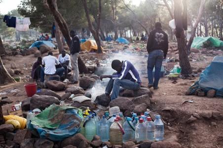 Kamp in de bossen rond Melilla. Oktober 2014. Foto: HH