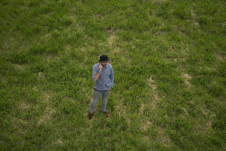 Oprichter Robin van de Putte, vanuit de lucht gefotografeerd met een drone.