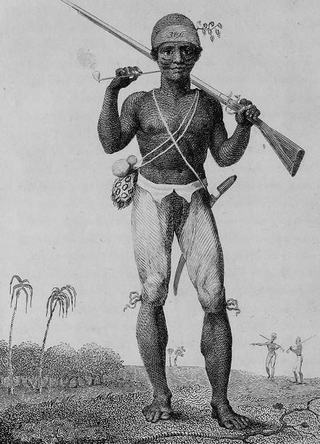 Een vrijgevochte slaafgemaakte & John Gabriel Stedman naast een rebellerende slaafgemaakte die hij overmeesterd heeft.