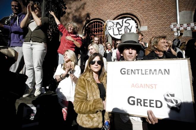 Het beursplein in Amsterdam op 15 oktober 2011. Foto Jeroen Oerlemans/Hollandse Hoogte