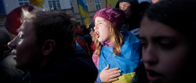 In Lviv begint de Euromaidan al in november, als president Janoekovitjs weigert het Associatieverdrag met de EU te tekenen. De burgemeester van Lviv roept studenten op te demonstreren (zoals te zien op deze foto van 25 november 2013). Foto: HH