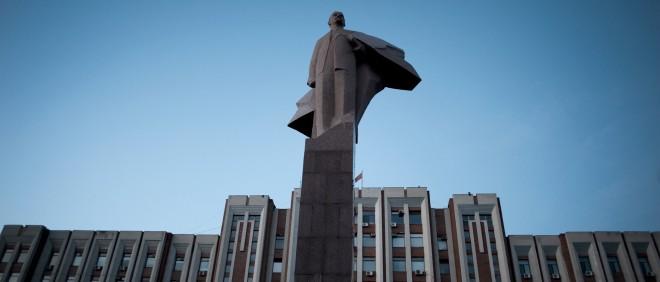 Het standbeeld van Lenin voor het Transnistrische parlement in de hoofdstad Tiraspol. Foto: Hollandse Hoogte
