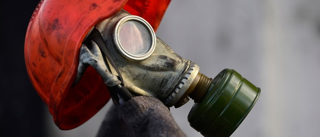 Een gasmasker tijdens protesten in Kiev (Oekraïne) op 6 februari 2014. Foto: Alexander Koerner/Getty Images