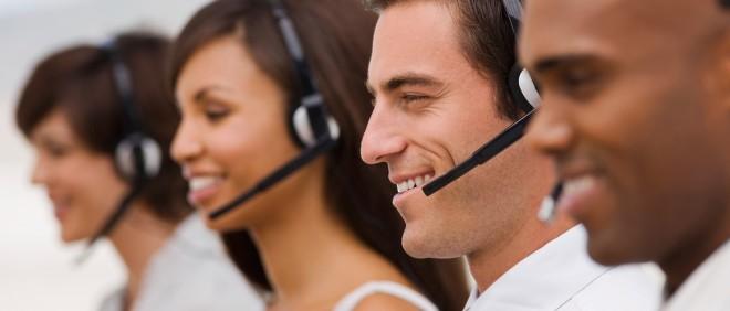 In de wereld van de stockfoto's is het callcenter een fantastische plek om te werken. Foto: Hollandse Hoogte