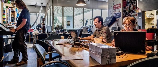 Het ACTA-gebouw in Nieuw-West is omgevormd tot een broedplaats voor creatieve bedrijven. Foto: Rink Hof/Hollandse Hoogte
