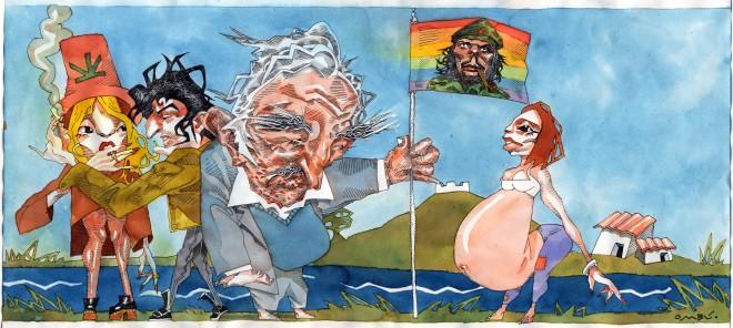 Deze illustratie is speciaal voor dit verhaal gemaakt door de Uruguayaanse illustrator Fermín Hontou. Hij maakt onder andere spotprenten voor verschillende kranten in Uruguay.