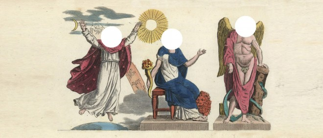 v.l.n.r. Chaos, Rhea en Saturnus. Illustratie: HH.