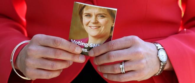 Nicola Sturgeon, de huidige premier van Schotland en de leider van de Scottish National Party (SNP), voert campagne. Foto: Andrew Milligan/Hollandse Hoogte