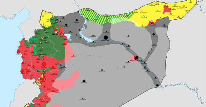 Kaart van de situatie in Syrië, 01-07-2015. Kaart gemaakt door: Thomas van Linge.