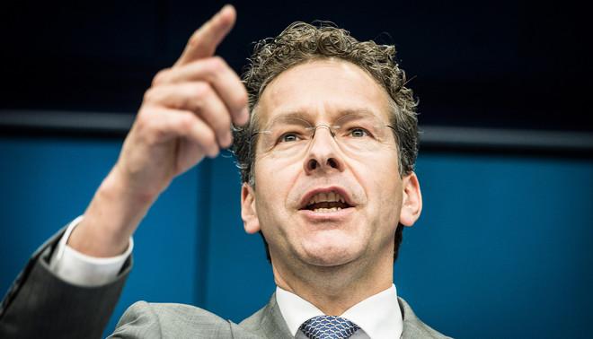 Dijsselbloem tijdens een speciale persconferentie van de Eurogroep naar aanleiding van een ontmoeting tussen ministers van Financiën uit verschillende eurolanden op 22 juni 2015. Foto: Wiktor Dabkowski/Hollandse Hoogte