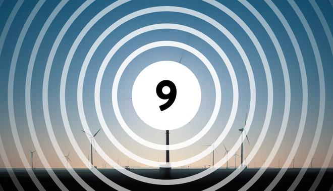 Windpark Eemsmond met 134 windturbines bij Eemshaven in Groningen. Foto: Frans Lemmens / Hollandse Hoogte / bewerking Leon Postma