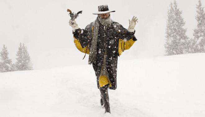 Samuel L. Jackson als Major Marquis 'The Bounty Hunter' Warren in  'The Hateful Eight' van Quentin Tarantino.