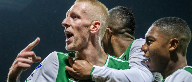 Soccer player Lex Immers celebrates scoring a goal for Feyenoord, October 2013.  Photo from Hollandse Hoogte