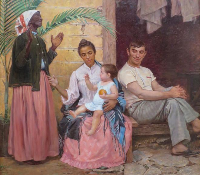 A Redenção de Cam (Hams Verlossing) van de Braziliaanse schilder Modesto Brocos (1852-1936), waarin een Braziliaanse familie per generatie blanker wordt, een kritische beschouwing op 'blanqueamiento'. De grootmoeder bidt tot God dat de baby zo blank mogelijk wordt. Beeld: Wikimedia Commons
