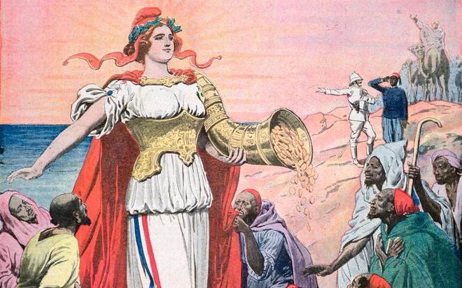 Detail van de voorpagina van de Franse krant Le Petit Journal van 19 november 1911. Het onderschrift bij dit beeld luidt: 'Frankrijk brengt civilisatie, rijkdom en vrede in Marokko'. Beeld: Getty