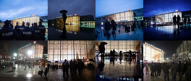 Het stationsplein in Keulen gefotografeerd op verschillende avonden in januari 2016. Foto's: AFP, EPA en Getty Images